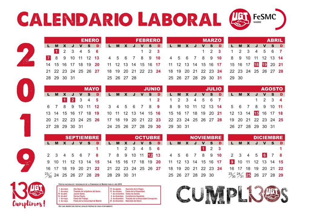Calendario laboral 2019 logo fesmc madrid